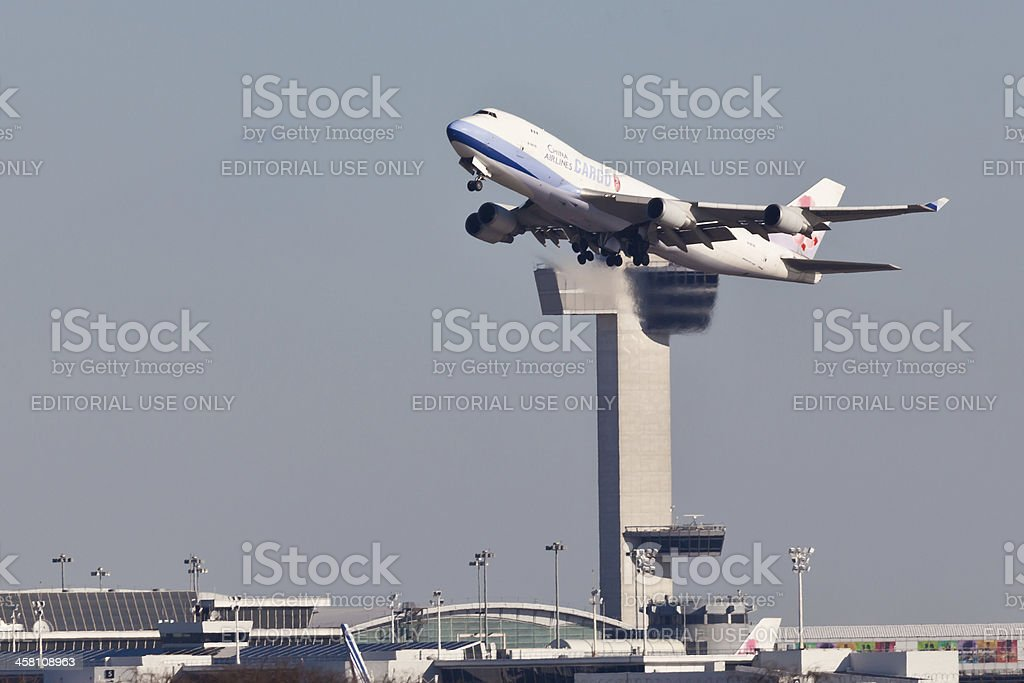 Commercial airliner Boeing 747 taking off from JFK New York stock photo