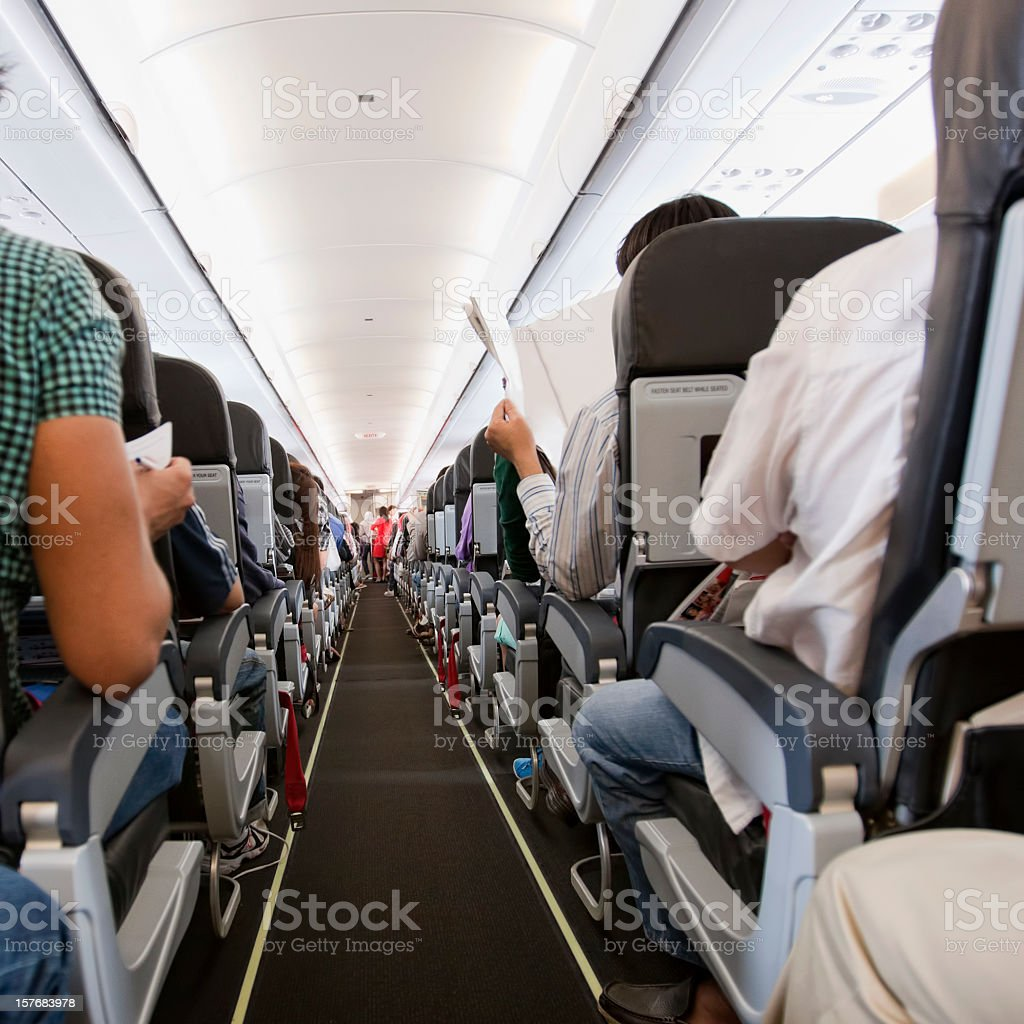 Commercial airliner cabin. royalty-free stock photo