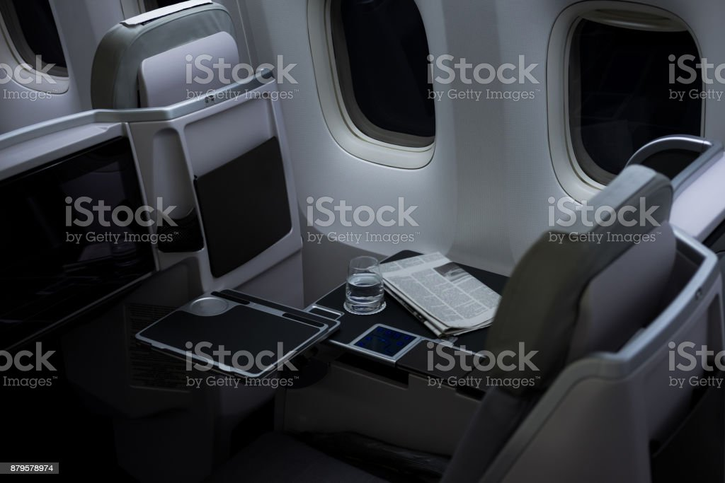 Commercial airliner cabin stock photo