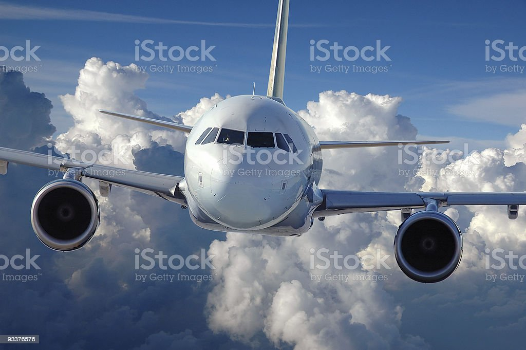 Commercial Airliner in Flight stock photo