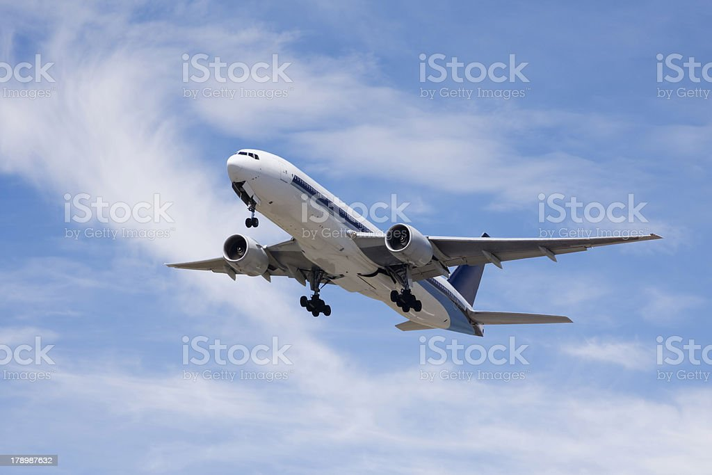 Commercial Airliner In Summer Sky stock photo
