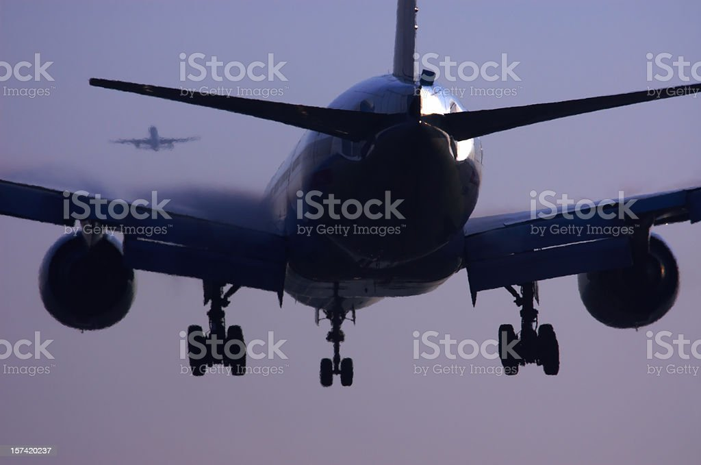 Commercial airliner landing. stock photo