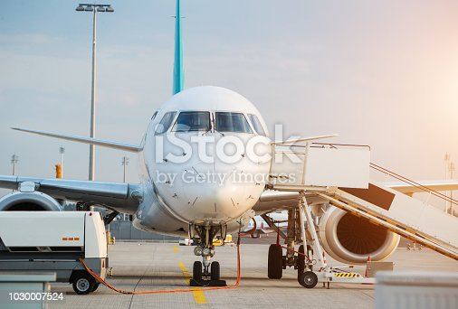 istock Commercial airplane beying prepared for next flight 1030007524