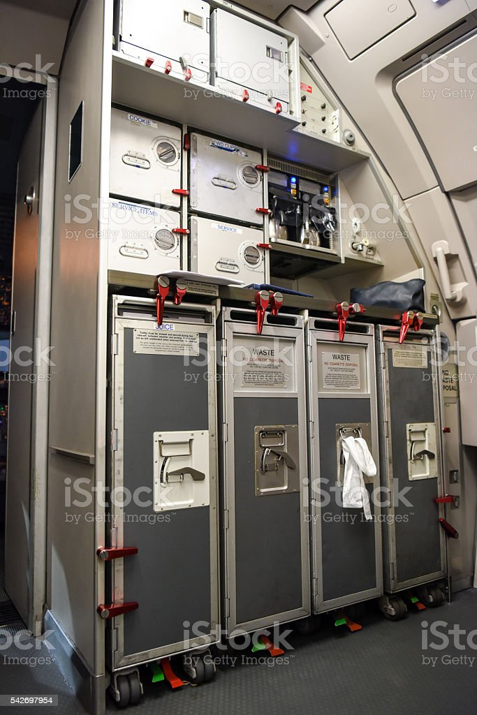 Commercial Airplane Food Cart Compartments stock photo