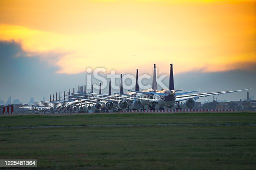 istock Commercial airplane parking 1225481364