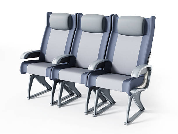 Commercial airplane seat stock photo