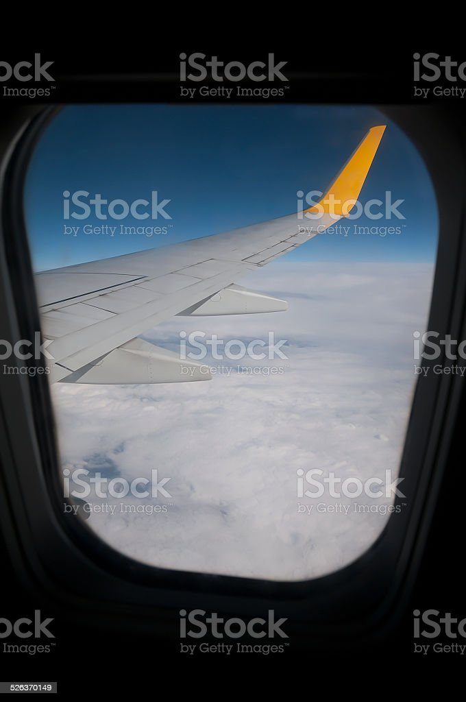 commercial airplane wing stock photo