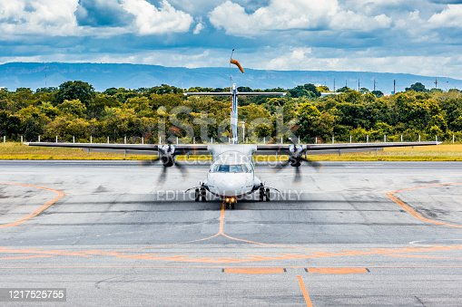 Cuiaba, Mato Grosso - Brazil, January 13, 2020: The ATR 72-600 (registration: pr-aqb) of the airline Azul Linhas Áereas taxi in Marechal Rondom, Varzea Grande - Cuiaba International Airport (Icao: sbcy / Iata: cgb), Mato Grosso, Brazil.