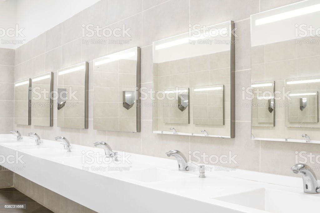 Commercial bathroom for washing hands stock photo