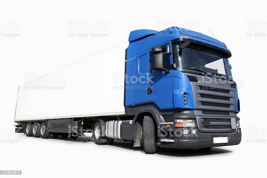 Commercial Big Blue Land Vehicle (clipping path) stock photo