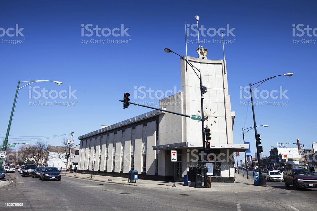 Commercial building in Brigton Park, Chicago royalty-free stock photo