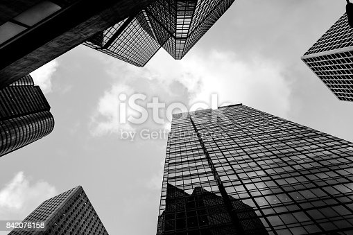 istock commercial building in Hong Kong with B&W color 842076158