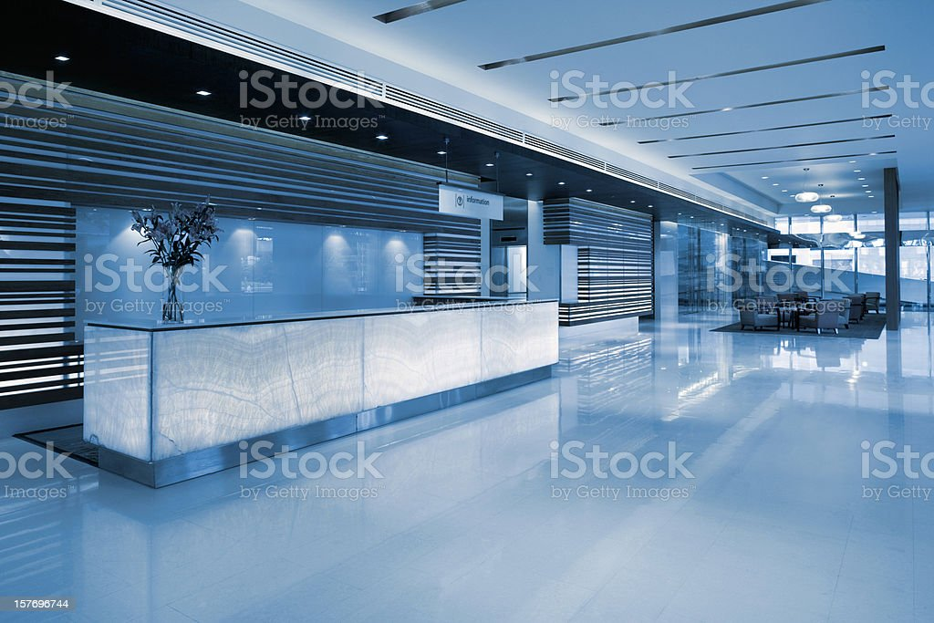 Commercial Building Lobby Reception stock photo