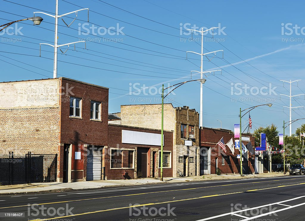 Commercial buildings  in  Avalon Park, Chicago royalty-free stock photo