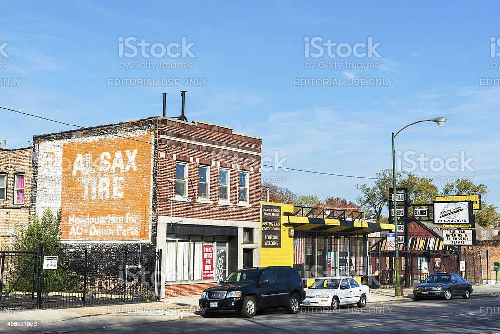 Commercial buildings in Calumet Heights, Chicago royalty-free stock photo