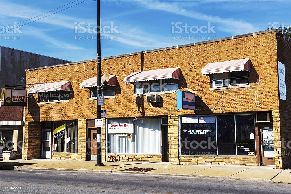 Commercial Buildings in Mount Greenwood, Chicago royalty-free stock photo