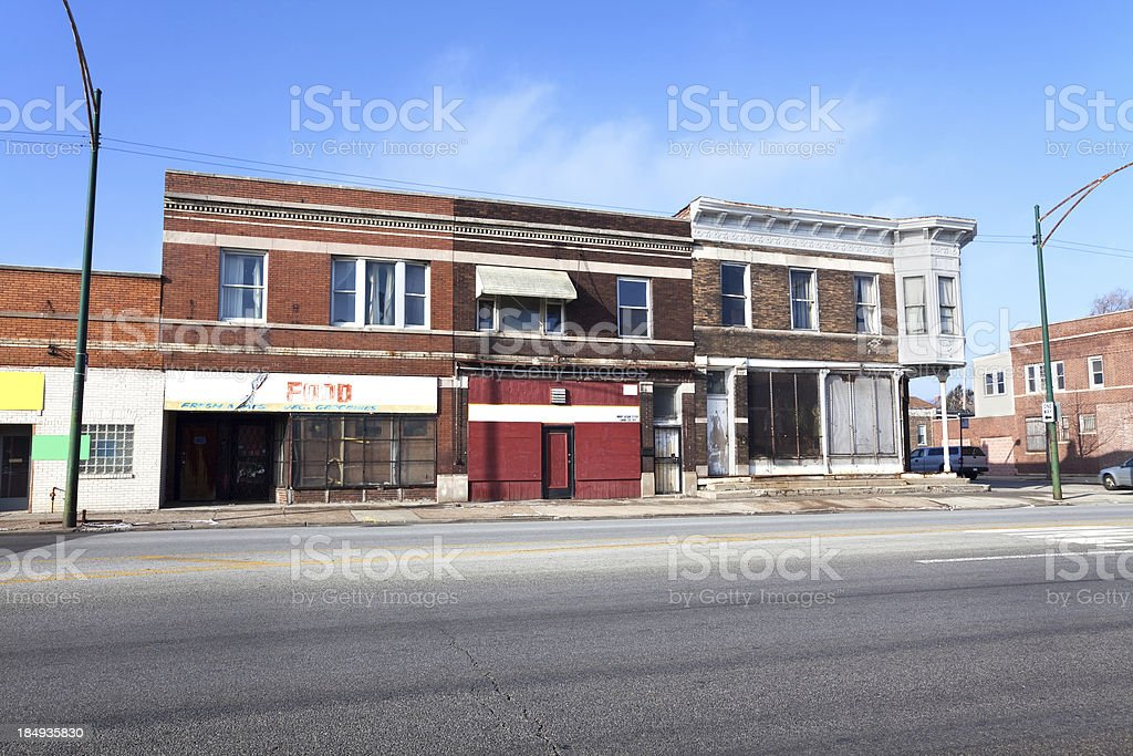 Commercial buildings on Cottage Grove Avenue in Chatham, Chicago royalty-free stock photo