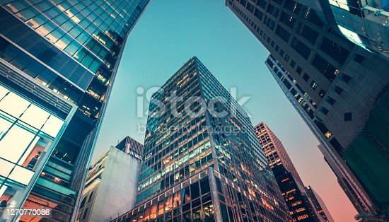istock Commercial buildings view from low angle 1270770086