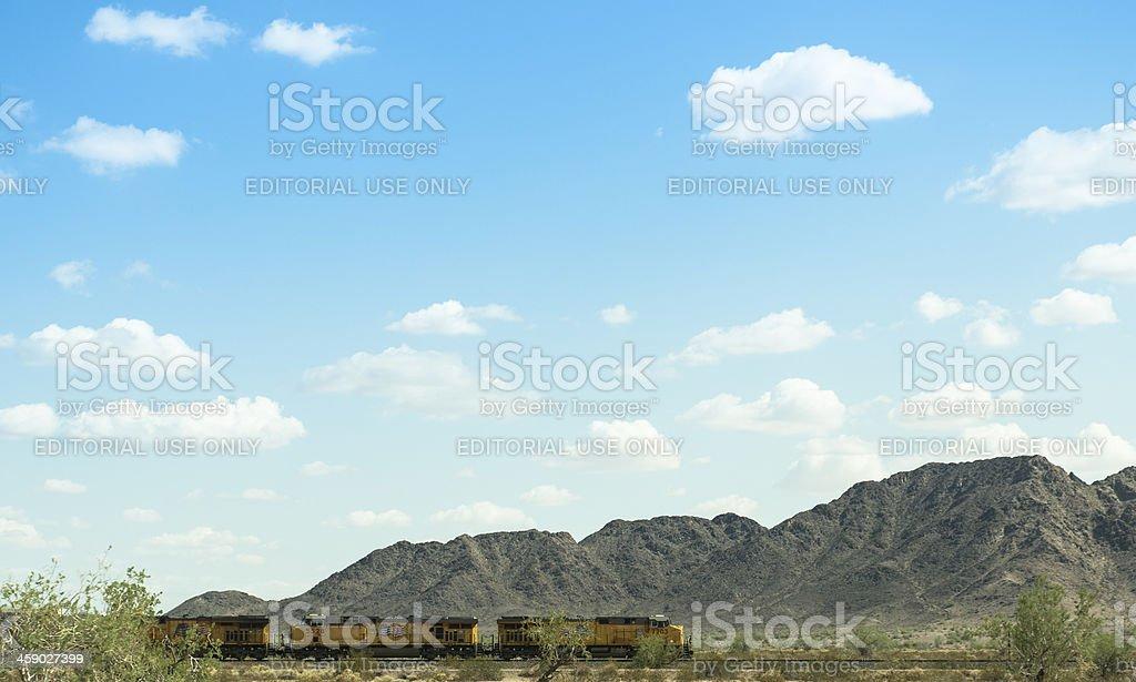US commercial cargo locomotive on Arizona railway royalty-free stock photo