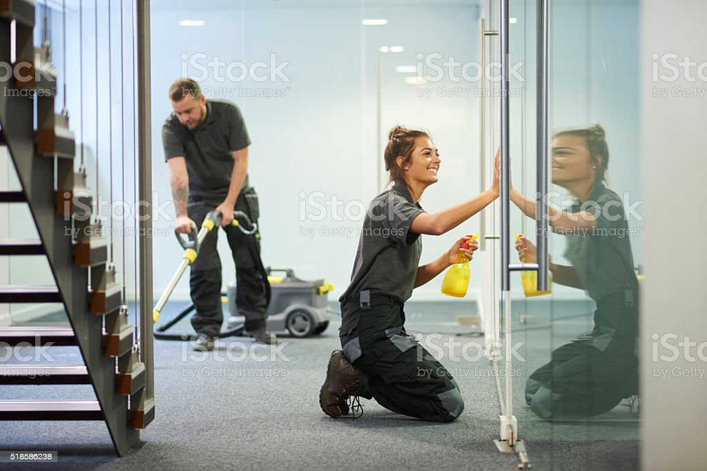 commercial cleaning contractors stock photo