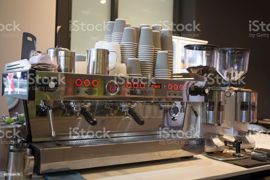 Commercial coffee machine stock photo