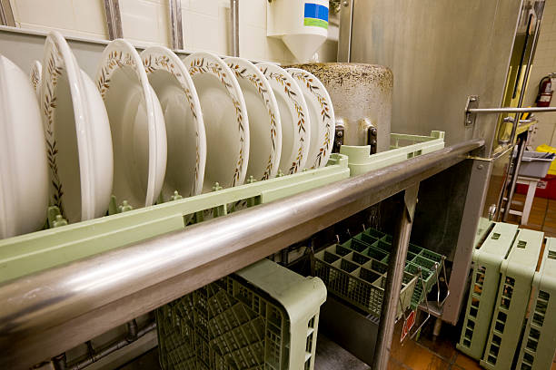 commercial dishwashing - commercial dishwasher stock photos and pictures