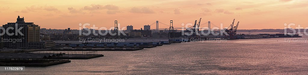 Commercial dock in Brooklyn: XXXL Panorama stock photo