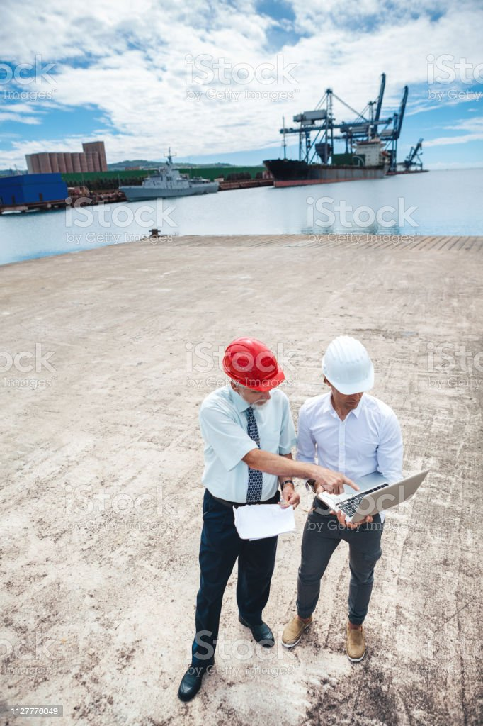 Commercial Dock Workers stock photo