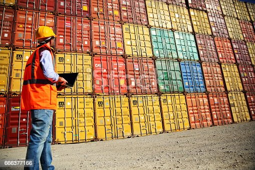 istock Commercial docks worker examining containers 666377166