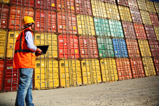 Commercial docks worker examining containers Commercial docks worker examining containers customs stock pictures, royalty-free photos & images