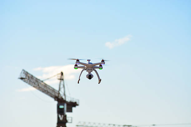 Commercial filming of building industry. New flying Chroma Blade drone stock photo