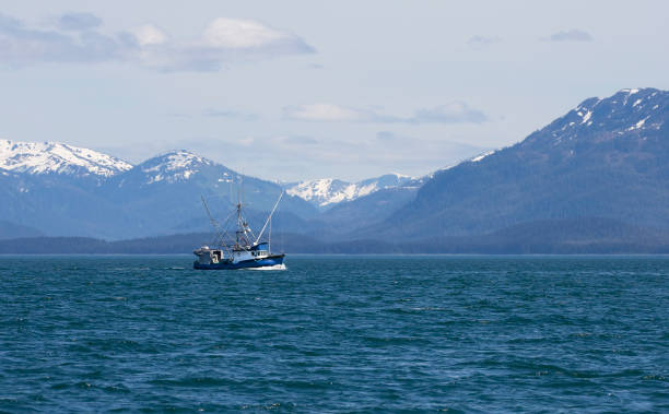 commercial fishing boat in southeast alaska - fishing boat stock pictures, royalty-free photos & images