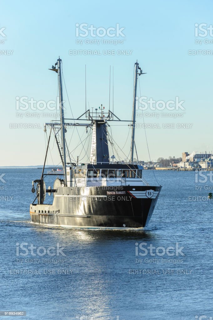 Commercial fishing boat Princess Scarlett, hailing port Cape May, New Jersey stock photo