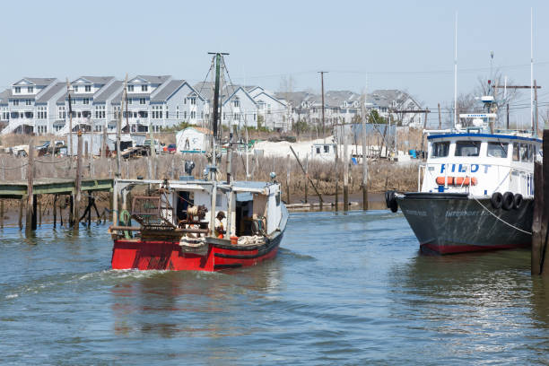 Commercial Fishing Boat Returning from Sea in Belford, New Jersey stock photo