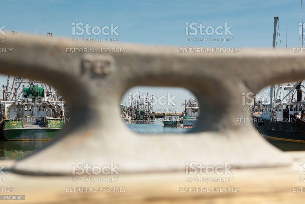 Bateaux de pêche commerciale amarré à Belford, New Jersey photo libre de droits