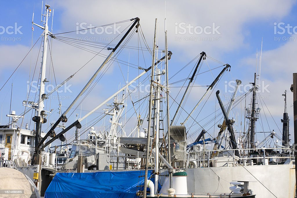 Commercial Fishing Booms and Cranes royalty-free stock photo