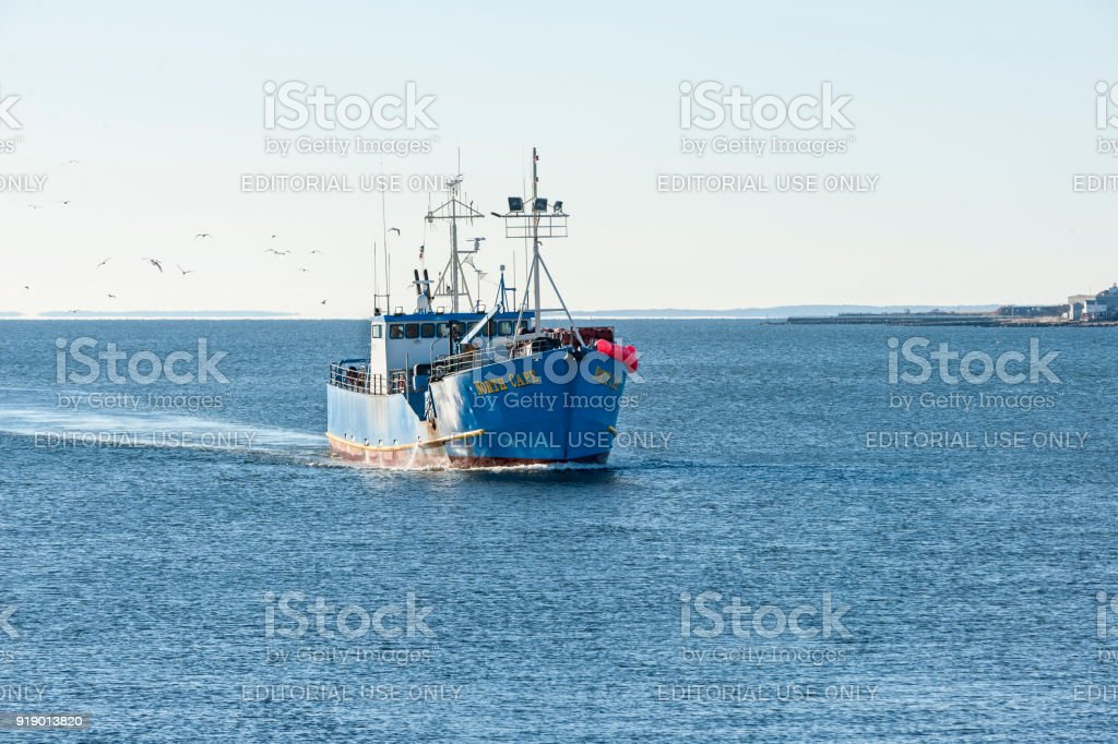 Commercial fishing vessel North Cape stock photo