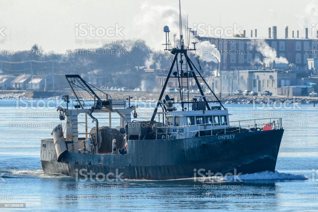 Commercial fishing vessel Osprey returning to port stock photo