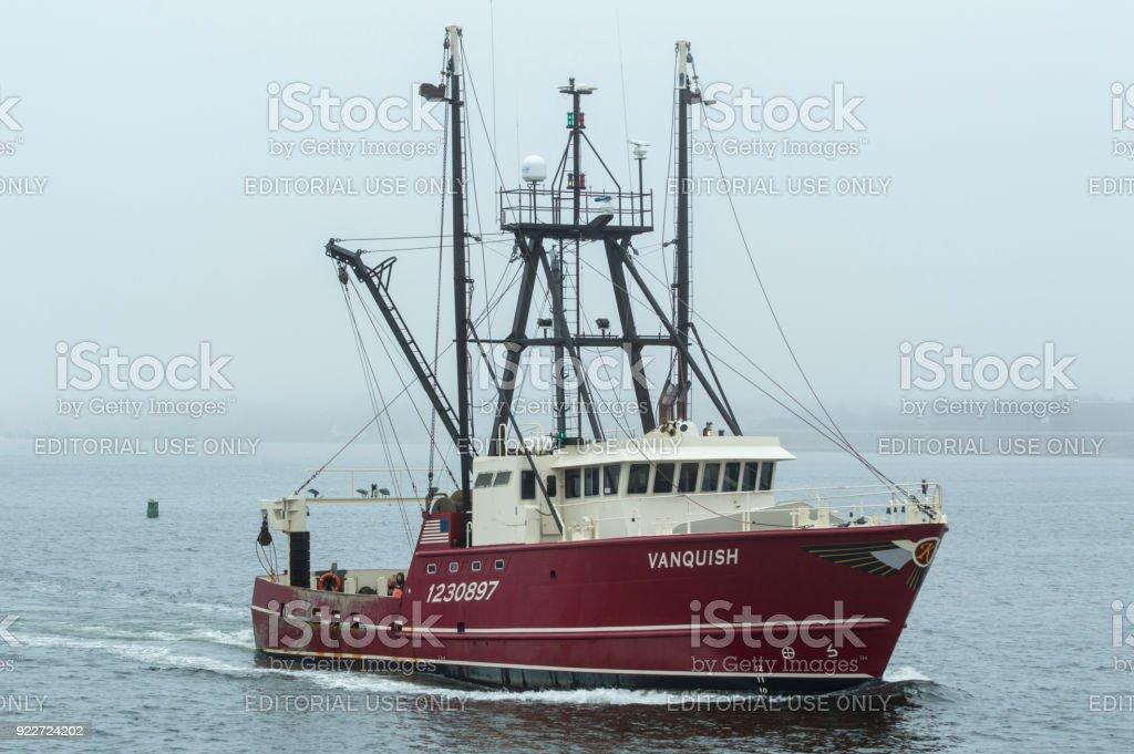 Commercial fishing vessel Vanquish in fog stock photo