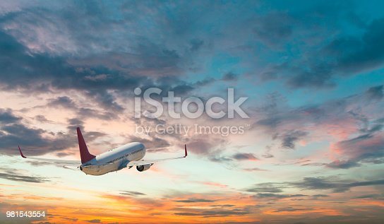 155439315istockphoto Commercial jet flying at sunset sky 981543554