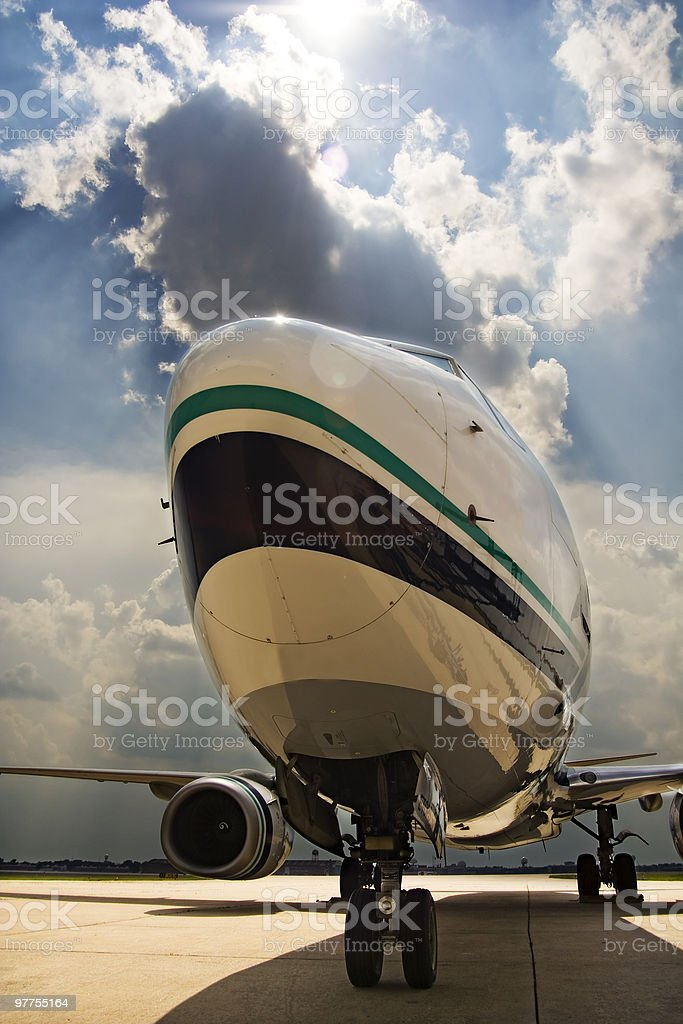 Commercial jet parked stock photo