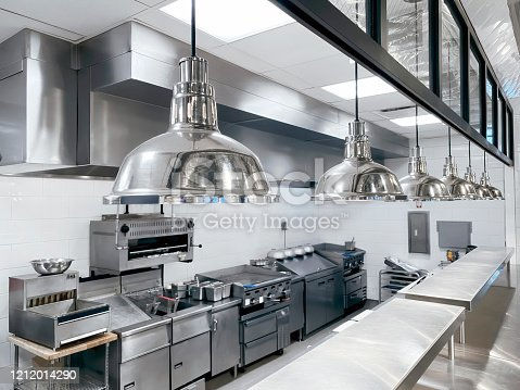 Commercial kitchen with clean counter top