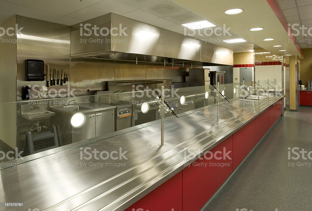 Commercial Kitchen with Serving Area royalty-free stock photo