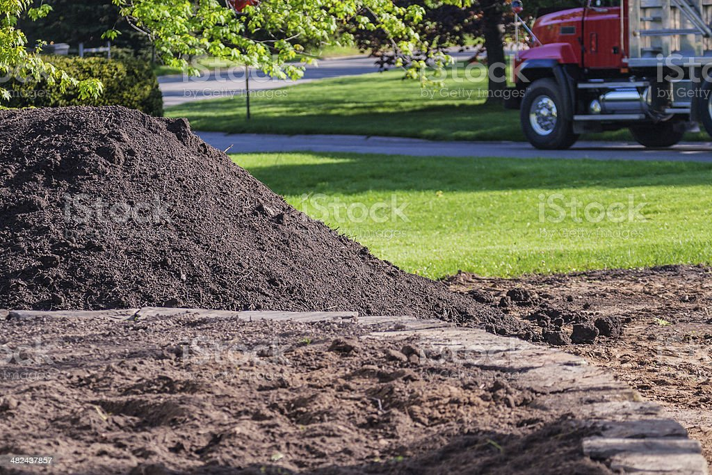 Commercial Landscaping Topsoil Delivery Truck stock photo