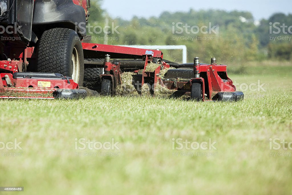 Commercial Lawn Mower Cutting Grass stock photo
