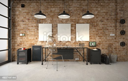 istock Commercial office in an industrial interior 493744144