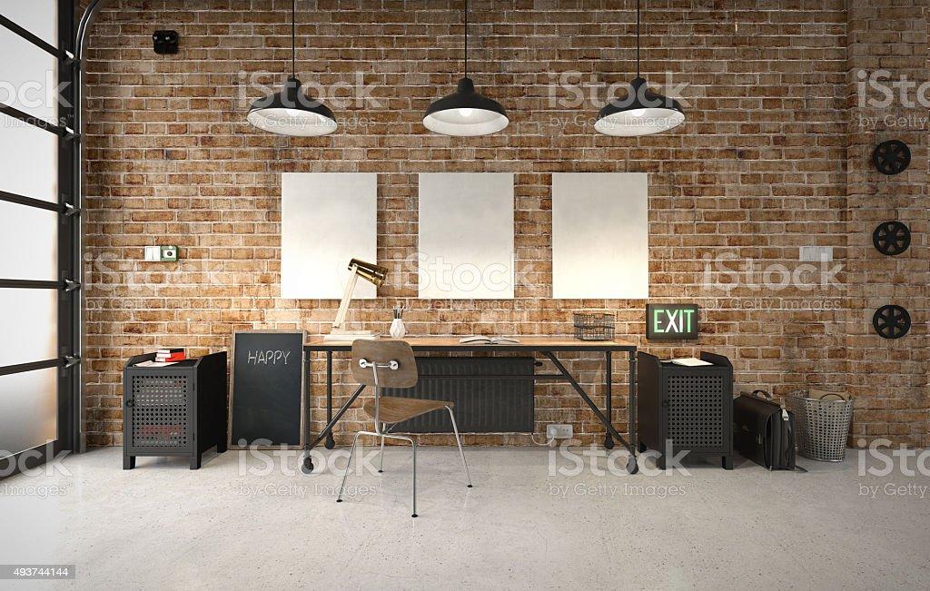 Escritório comercial em um interior industrial - foto de acervo