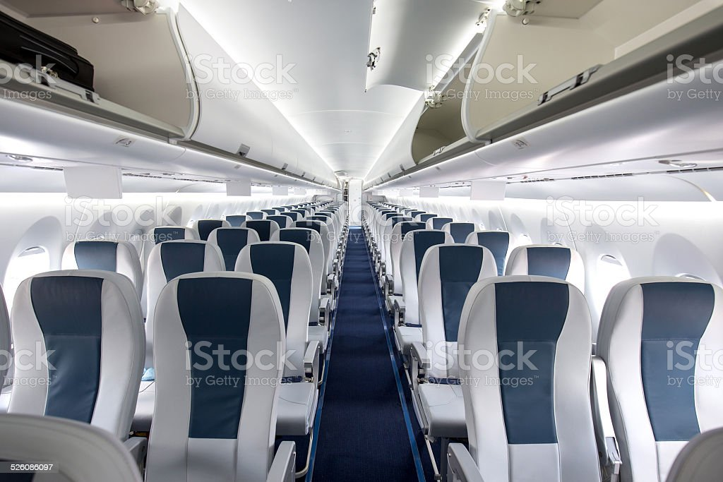 Commercial Passenger Aircraft Cabin stock photo