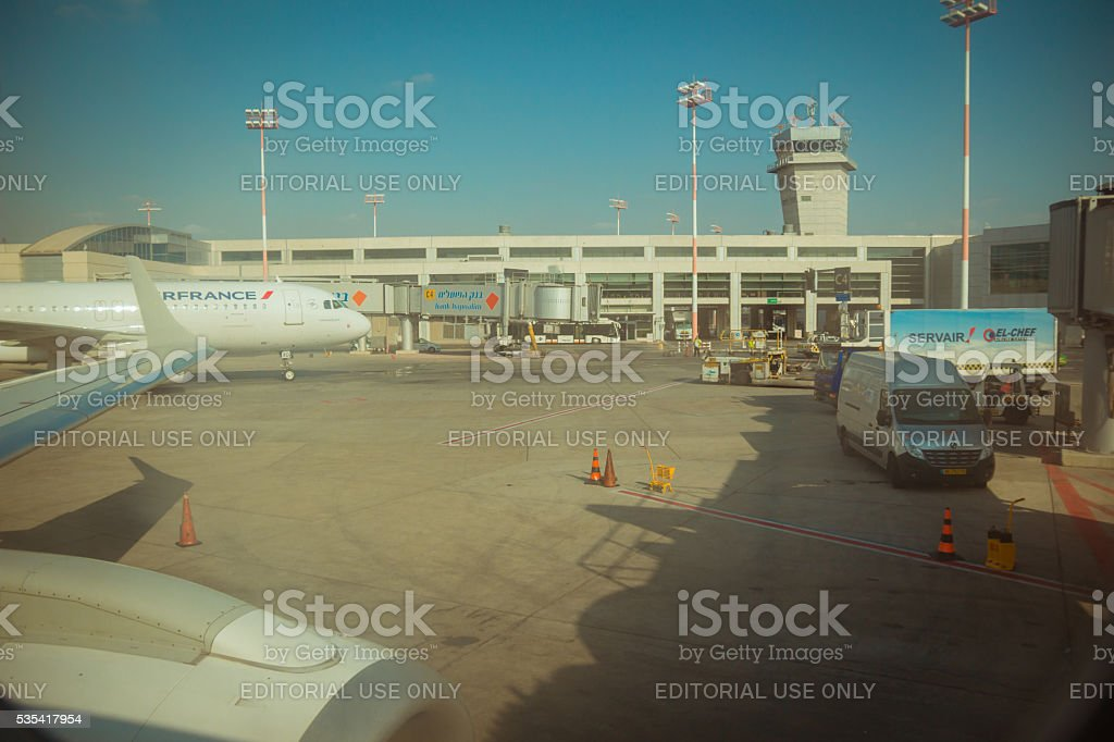 Commercial plane near terminal 3 at Ben Gurion international airport stock photo