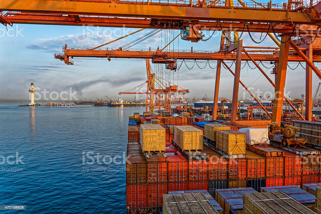 Commercial port at late evening stock photo